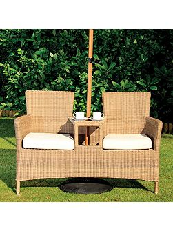Hawaii love seat with seat cusions and parasol