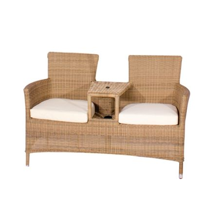Cozy Bay Hawaii love seat with seat cusions and parasol ho
