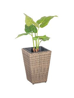 Square rattan planter 40cm with plastic inlay
