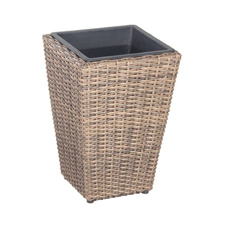 Cozy Bay Square rattan planter 40cm with plastic inlay