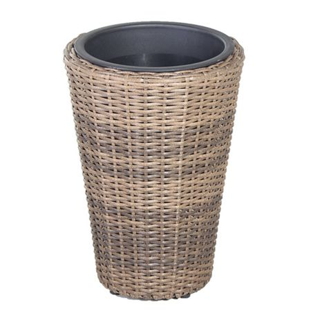 Cozy Bay Round rattan planter 40cm with plastic inlay
