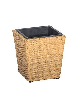 Square rattan planter 30cm with plastic inlay