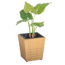 Cozy Bay Square rattan planter 30cm with plastic inlay