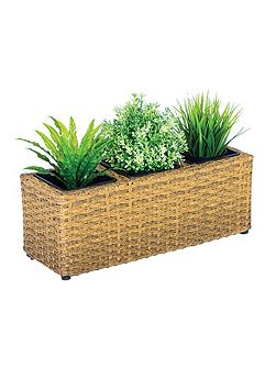 Rattan balcony basket with 3 sections with plasti