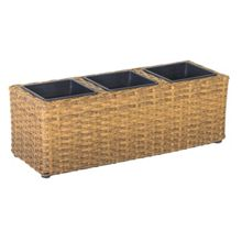 Cozy Bay Rattan balcony basket with 3 sections with plasti