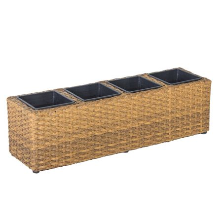 Cozy Bay Rattan balcony basket with 4 sections with plasti
