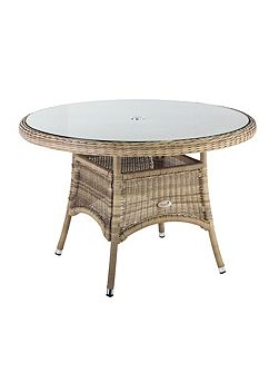 120cm hampton rattan round table with 8mm tempere