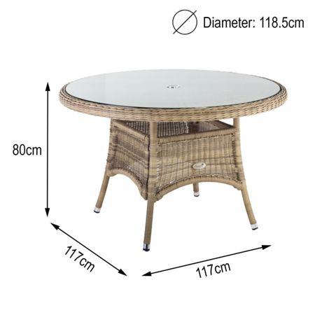Oseasons 120cm hampton rattan round table with 8mm tempere