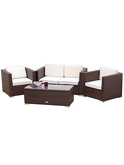 Oxford flex 4 seater brown sofa set rattan