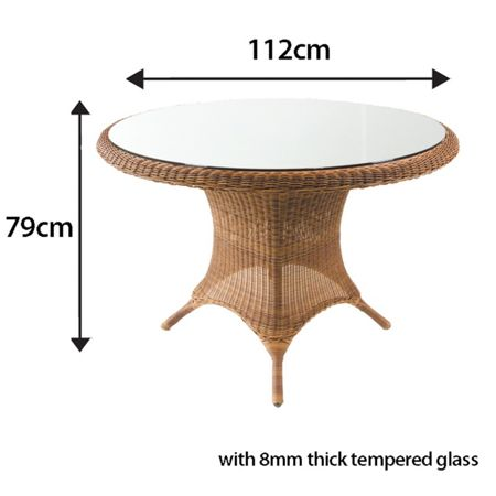 Cozy Bay 112cm rattan round table java honey with glass