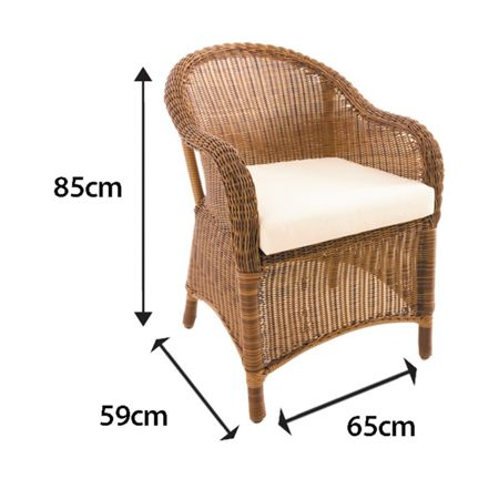 Cozy Bay Sicilia armchair with seat pad cushion java honey