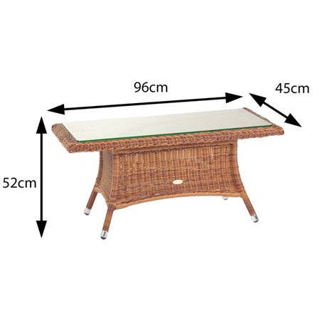 Cozy Bay Panama coffee table with 8mm tempered glass