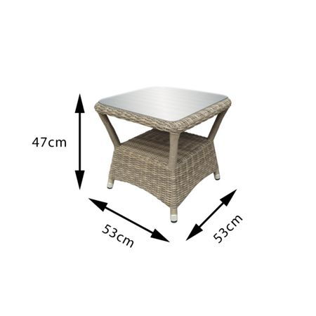 Oseasons Eden rattan sidetable with glass top