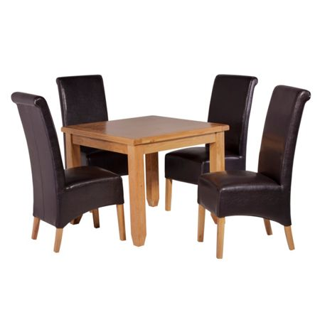 Oseasons 4 brown faux leather dining chairs & oak table di