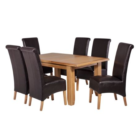 Oseasons 6 brown faux leather dining chairs & oak dining t