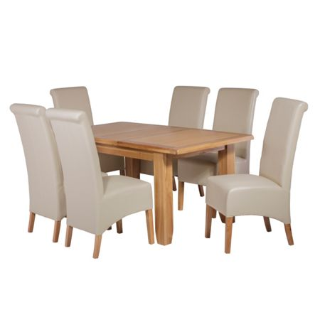 Oseasons 6 ivory faux leather dining chairs & oak dining t
