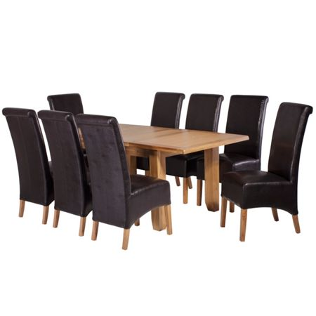 Oseasons 8 brown faux leather dining chairs & oak dining t