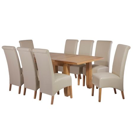 Oseasons 8 ivory faux leather dining chairs & oak dining t