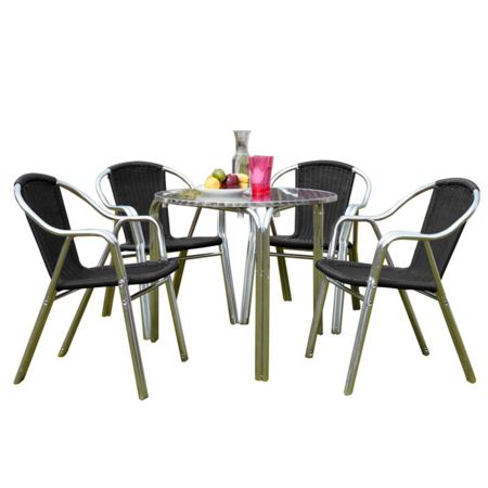 Sol Bistro Cappuccino 4 seater rattan furniture black restau