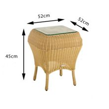 Cozy Bay Jamaica rattan side table beige with glass top