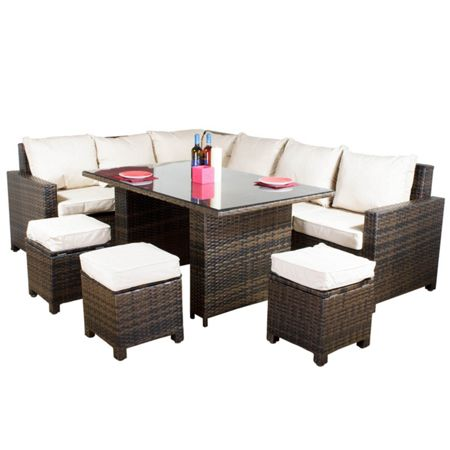 Oseasons Morocco flex 8 seater brown sofa dining set