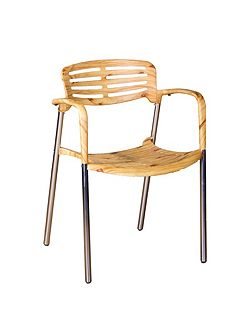 Toledo stackable bistro chair natural wood effect