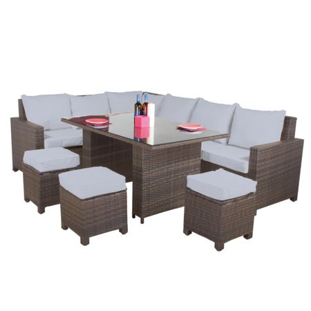 Cozy Bay Hawaii rattan 9 seater sofa dining set in onyx co