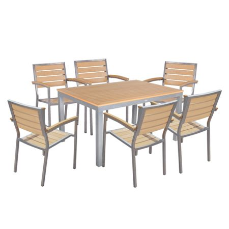 Sol Bistro Syn-teak 6 seater teak asian bistro stackable set