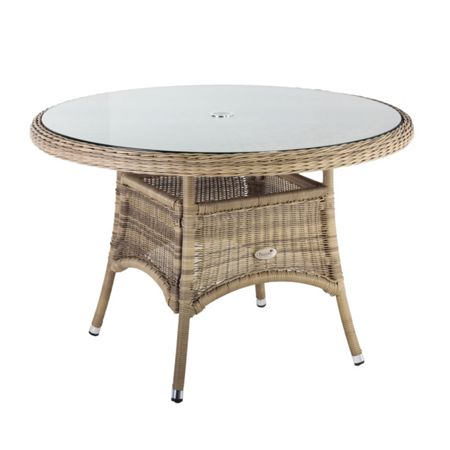 Oseasons 110cm hampton rattan round table with 8mm tempere