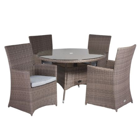 Cozy Bay Hawaii rattan 4 seater dining set with high back