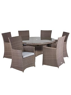 Hawaii rattan 6 seater dining set with high