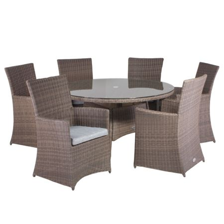 Cozy Bay Hawaii rattan 6 seater dining set with high back