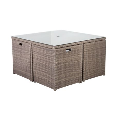 Cozy Bay Cube rattan 8 seater dining set in onyx cocoa wit
