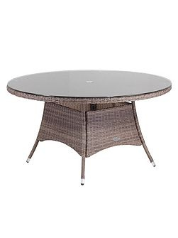 Hawaii rattan 6 seater dining table in onyx