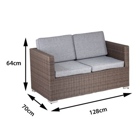 Cozy Bay Oxford rattan 2 seater arm sofa in onyx cocoa wit