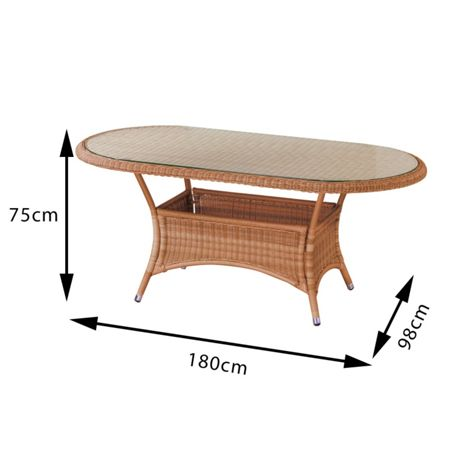Cozy Bay Oval rattan dining table 180cm java honey