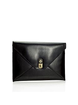 Envelope black patent clutch bag