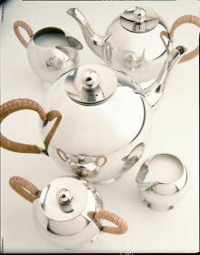 Spheres sugar bowl wicker handle