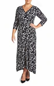 Black and white print maxi dress