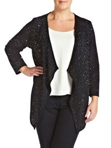 Plus Size Glitter waterfall cardigan