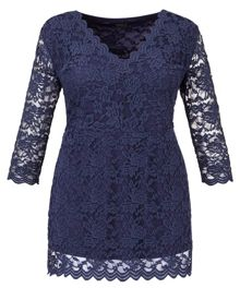 Plus Size Made in Britain scalloped lace tunic