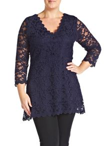 Made in Britain scalloped lace tunic