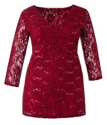 Plus Size Made in Britain sequin lace tunic