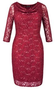 Grace Plus Size Made in Britain sequin lace dress