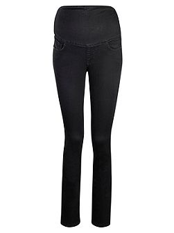 Denim band black straight leg jeans