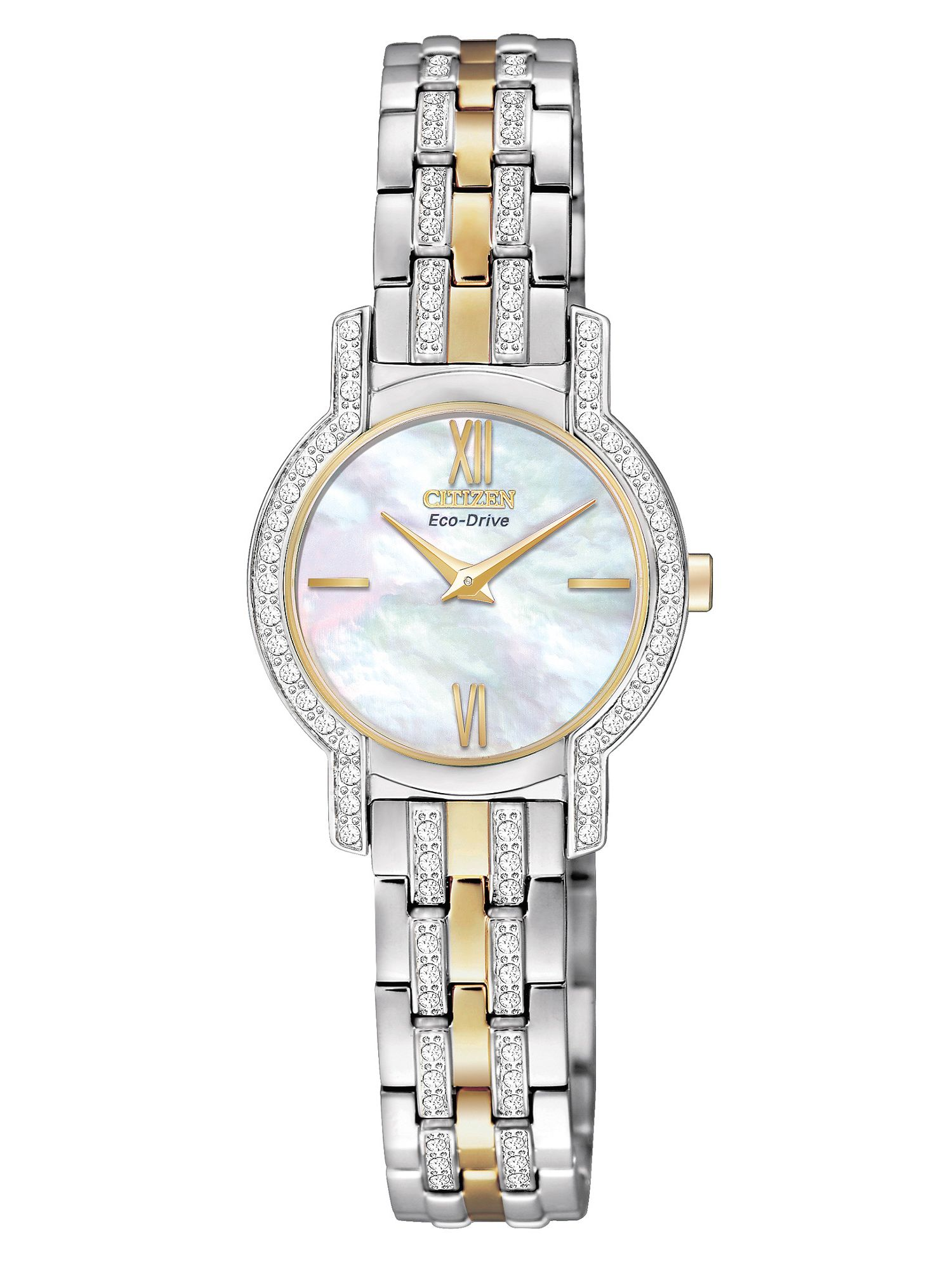 Eco-drive silhouette crystal ladies watch