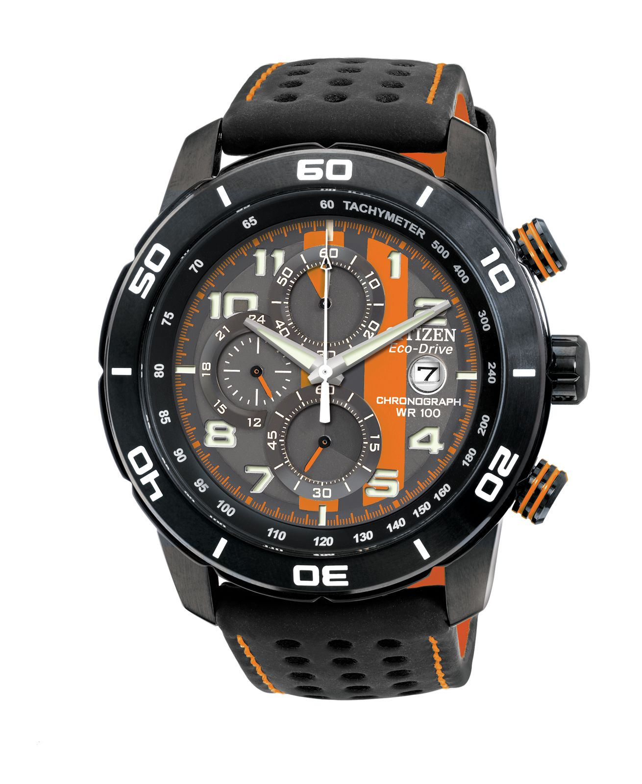 Eco-drive primo black leather mens watch