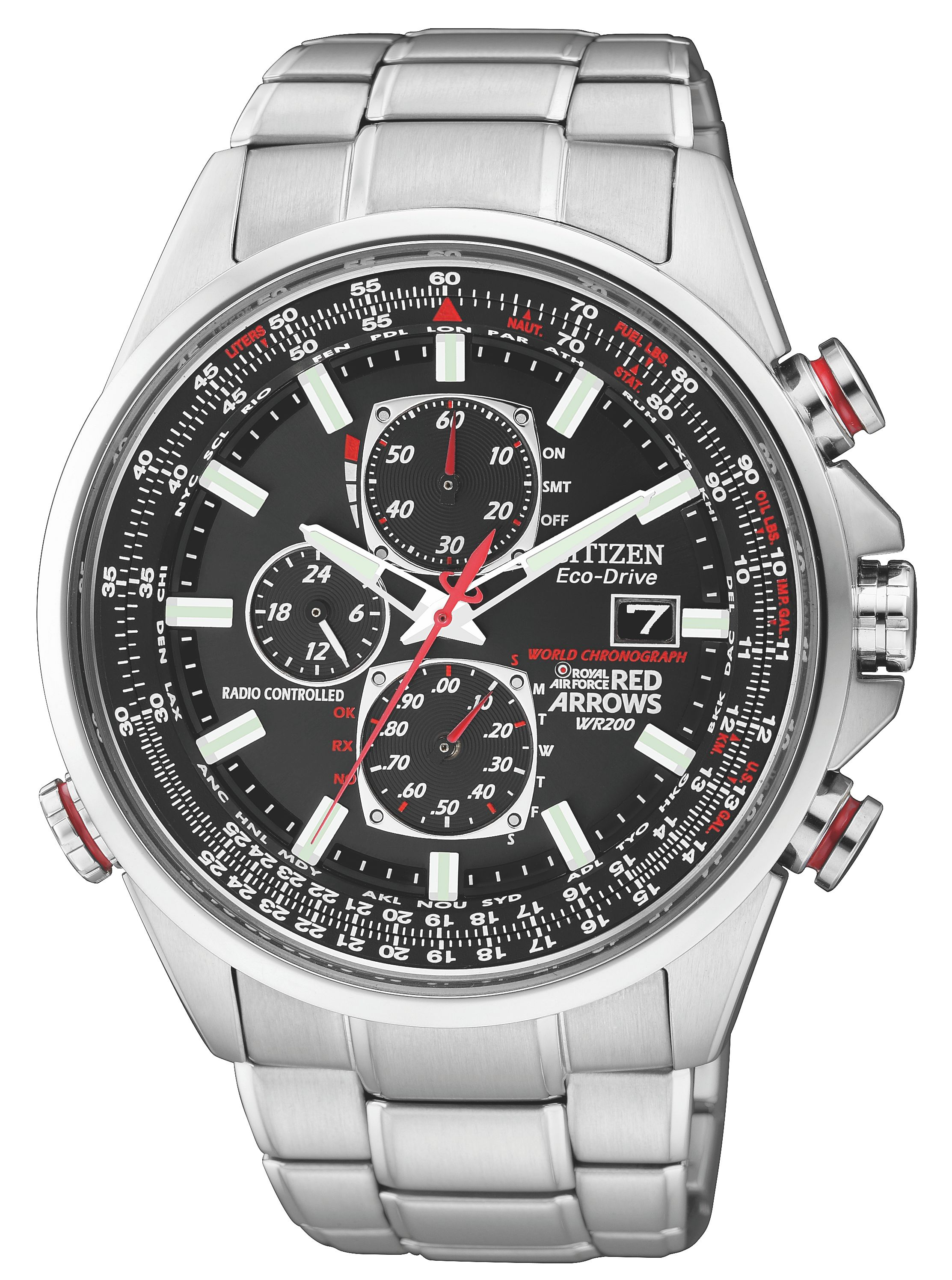 Citizen Eco-drive red arrows world chrono mens watch, Silver