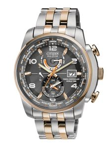 Eco-drive chrono at two tone mens watch