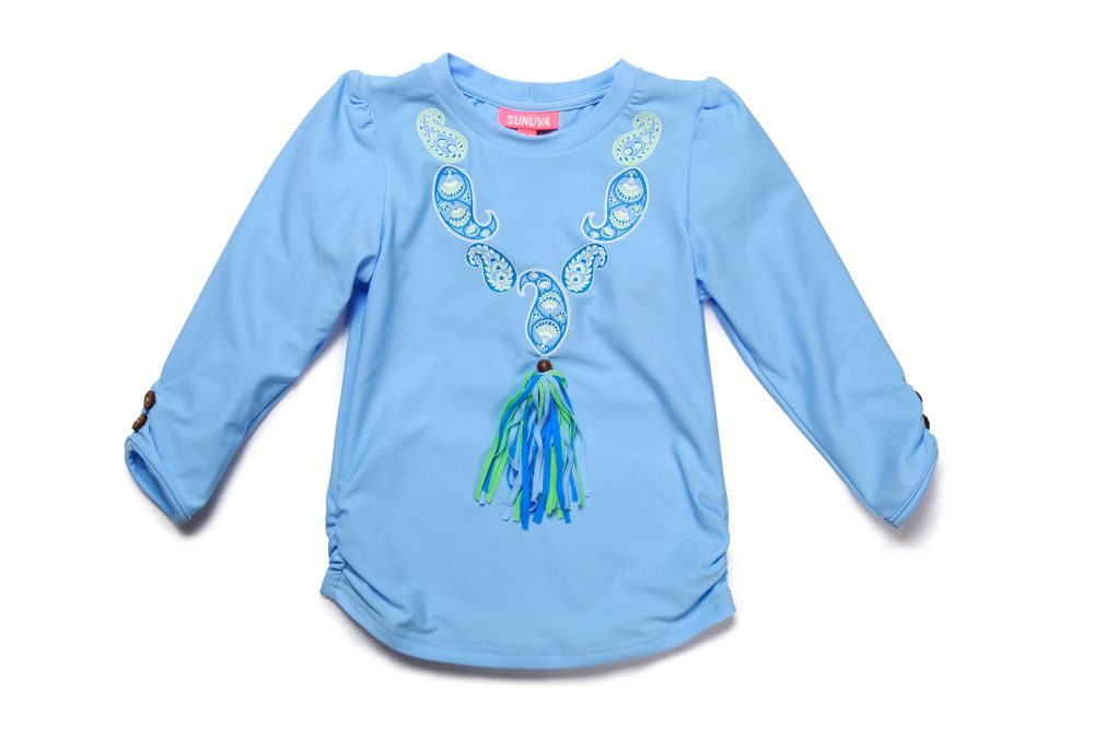 Girl`s blue paisley rash vest